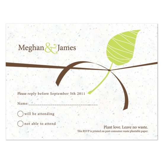 Embrace  Plantable Seed Wedding reply card Botanical PaperWorks Pricing 25 to 49 $2.50 each 50 to 99 $2.25 each 100 to 199 $2.00 each 200 or more $1.75 each