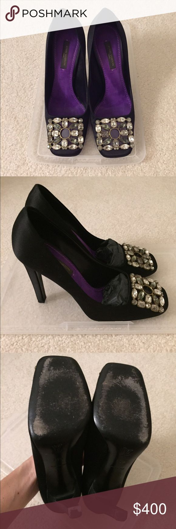 Louis Vuitton Crystal Pumps 100% Authentic Louis Vuitton Pumps. Black silk satin with eggplant colored lining adorned with gorgeous crystals. Clear peep toe in front. Extra heel tips included. Worn a few times, excellent condition. Size 35.5. No trades. No box, as is. Louis Vuitton Shoes Heels