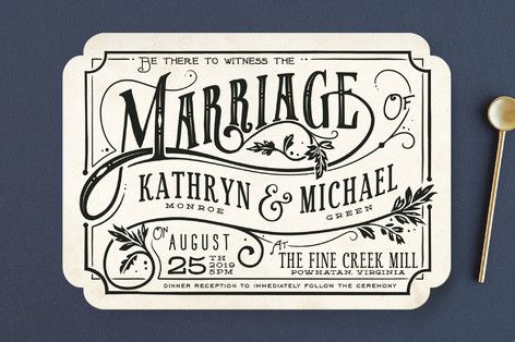 """Inked"" - Hand Drawn, Bold typographic Wedding Invitations in Parchment by GeekInk Design."