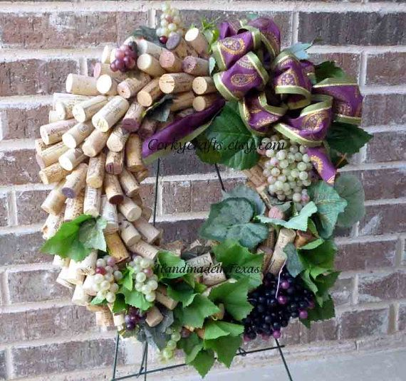 Wine Harvest  wine cork wreath by Corkycrafts on Etsy, $40.00