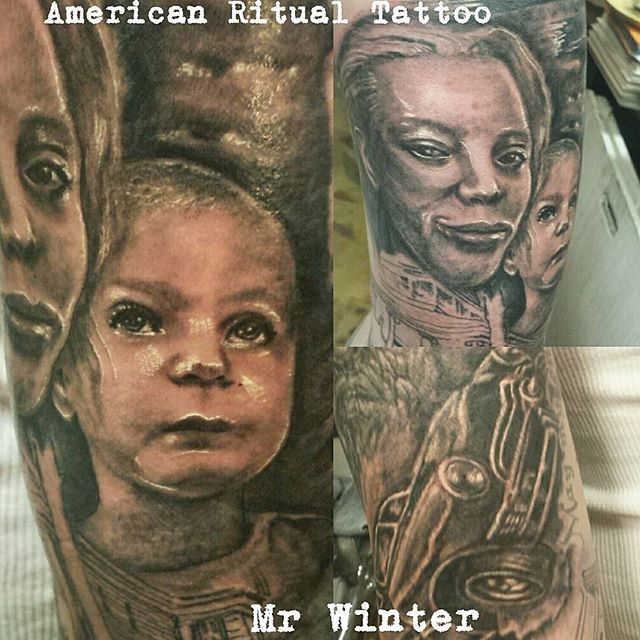 Family portrait work and a sweet shoebox ford to end the day. #americanritualtattoo #tacomatattoos #253 #naturetattoos #gothic #bnginksociety #bng #grey #portrait #photorealism #real #baby #cute #tattoo #family #wife #daughter #mrwinter #justinwintertattoos