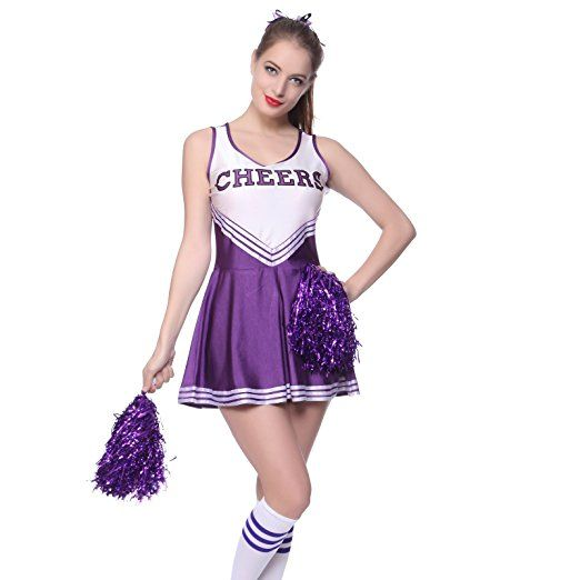 Sexy Cheerleader Kostuem Uniform Cheerleading Cheer Leader mit Pompom Minirock GOGO Damen Maedchen Karneval Fasching