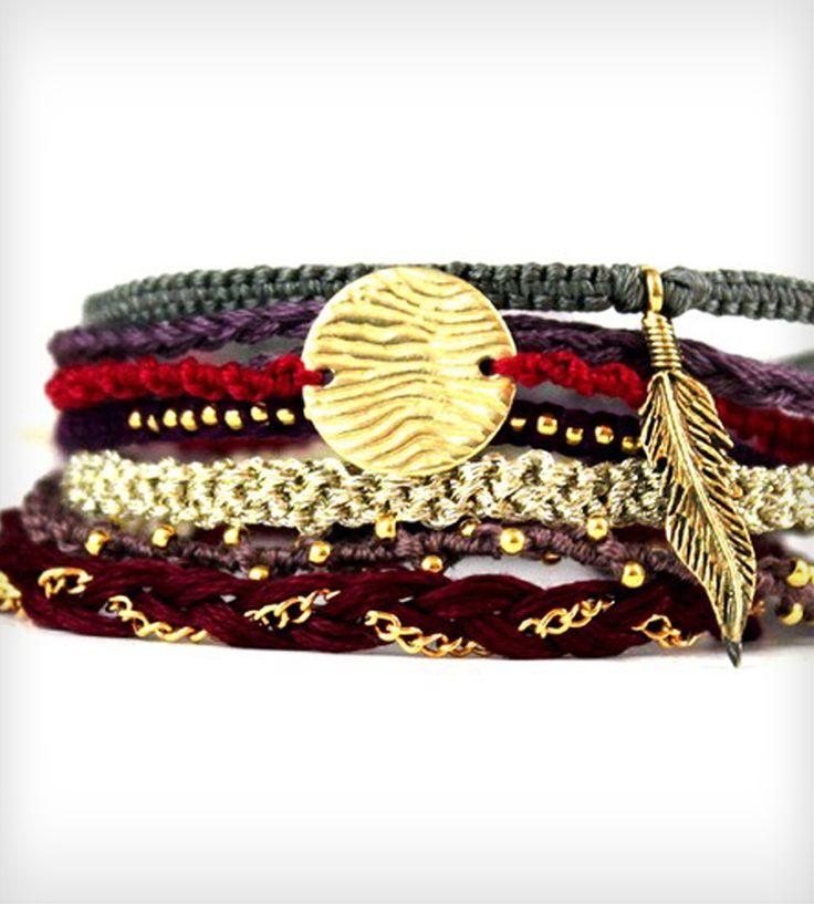 love this braided, charmed friendship bracelet stack