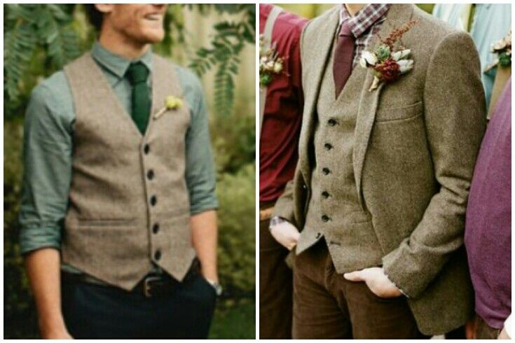 Grooms outfit. Vest. Brown cords. Tweed jacket. Green tie. Green shirt.
