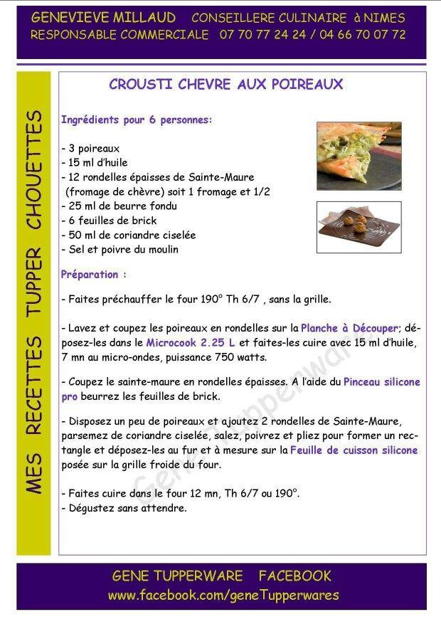Entrée - Crousti chèvre aux poireaux - Tupperware