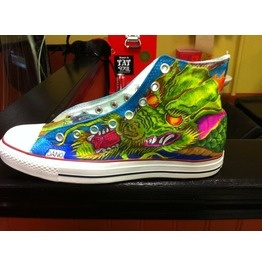 Custom painted/sprayed Tattooed Chuck T's Converse sneakers trainers
