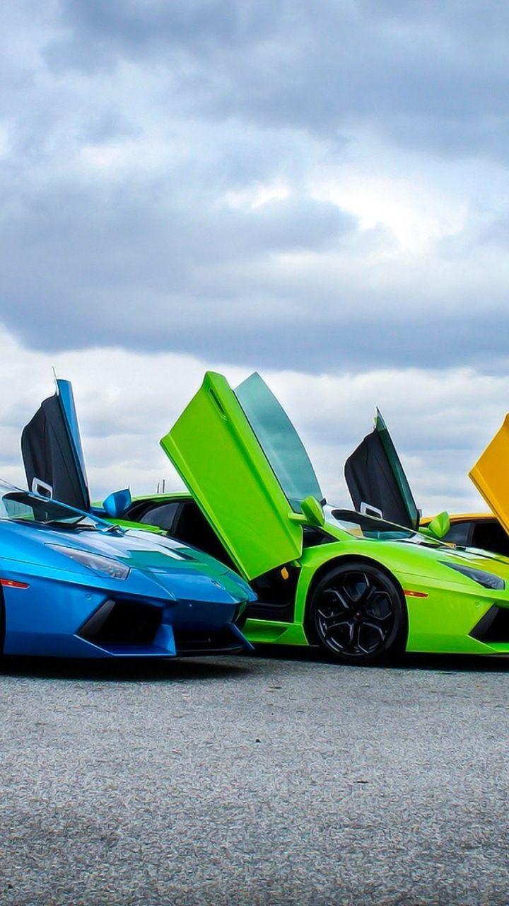 Super Cars Colorful Lamborghini Aventador 720x1280 Wallpaper
