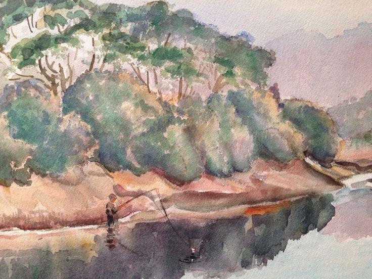 Original Signed Watercolor - C. Finance California Artist - Fishing in Lake