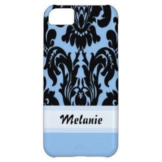 Trendy and pretty iPhone 5C case. Beautiful black Victorian damask pattern design on light pastel blue, and banner to your name, initials or monogram. For the fashionista or fashion trend setter, the lover of classic jugendstil or nouveau art deco motif designs. Cute and fun girly girls or mom's birthday present or Christmas gift. Classy phone cover for the elegant and romantic woman. Also available for iPhone 3 4 5, Samsung Galaxy S2 S3 S4, iPod Touch 4G 5G, Motorola Droid Razr, iPad, etc.