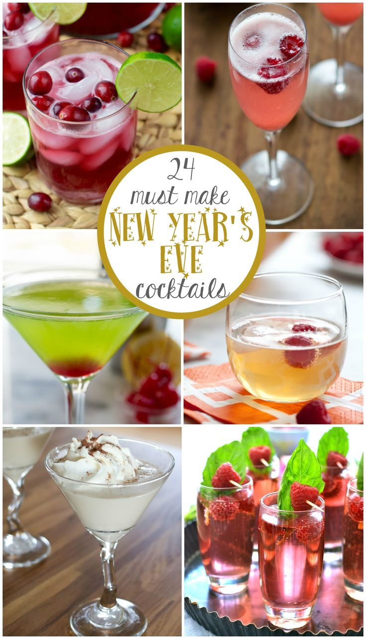 These 24 New Year's Eve Cocktail Recipes are must make! Champagne, sangria, martinis, punch - they're all the perfect easy recipes for a party!