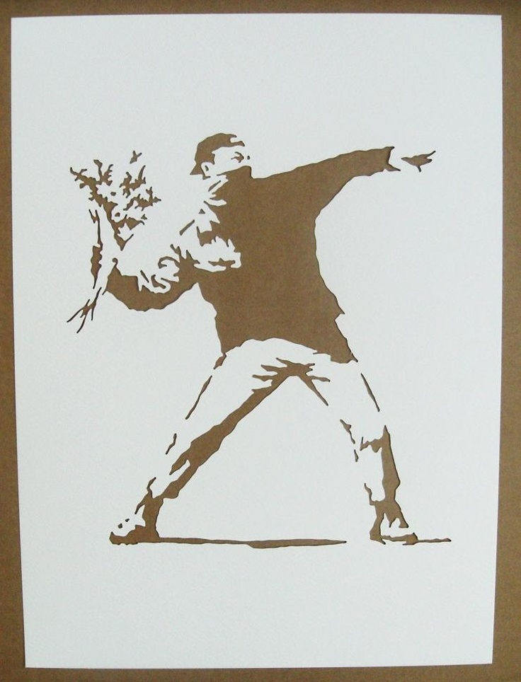 BANKSY Stencils Set Of Five Girl With Balloon, Bomb Hugger, Fallen Angel, Grin Reaper, Love Is In The Air Graffiti. $25.00, via Etsy.