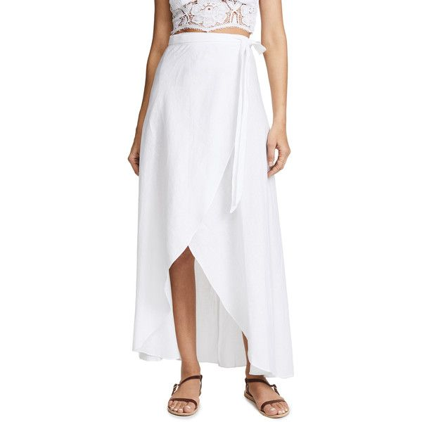 Miguelina Ballerina Skirt ($335) ❤ liked on Polyvore featuring skirts, pure white, miguelina, maxi length skirts, white knee length skirt, tie waist maxi skirt and ballerina skirt