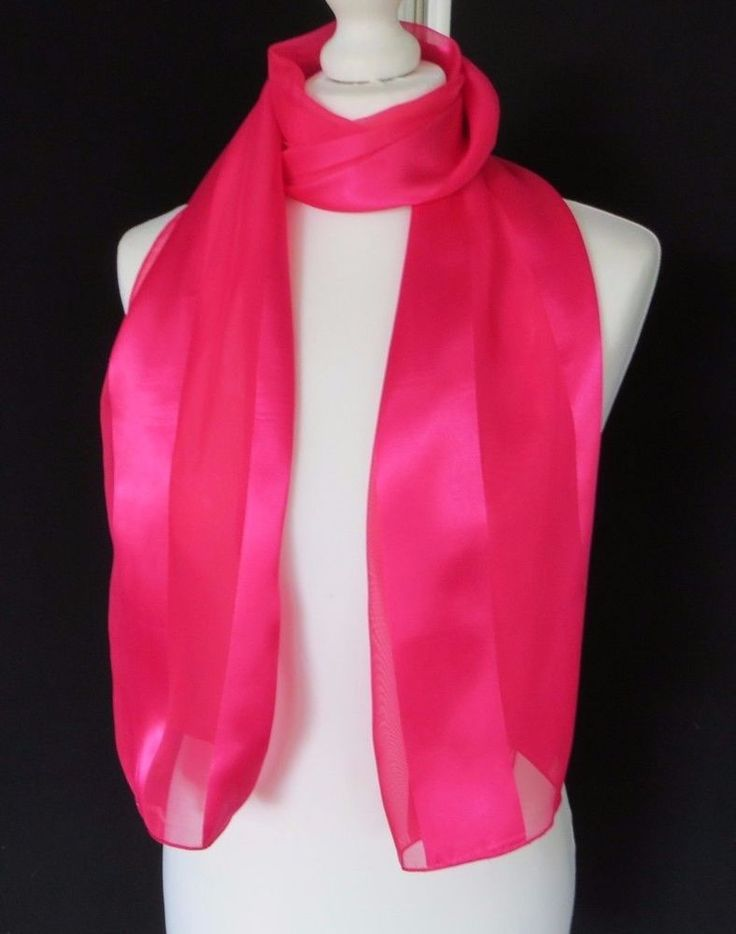 Ladies Fuchsia Pink Satin Scarf  Choir Uniform  UK SUPPLIER  RAPID DELIVERY!!