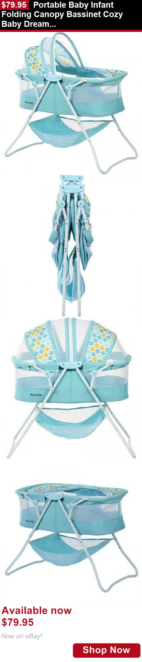 Bassinets And Cradles: Portable Baby Infant Folding Canopy Bassinet Cozy Baby Dream On Me Light Blue BUY IT NOW ONLY: $79.95