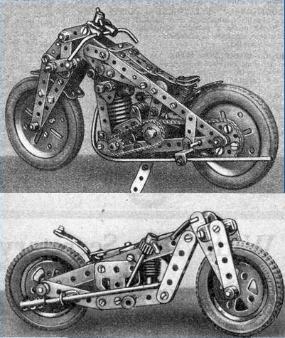 Meccano vintage bikes in a 1920's Meccano Magazine. The tyres were a recently introduced part back then.