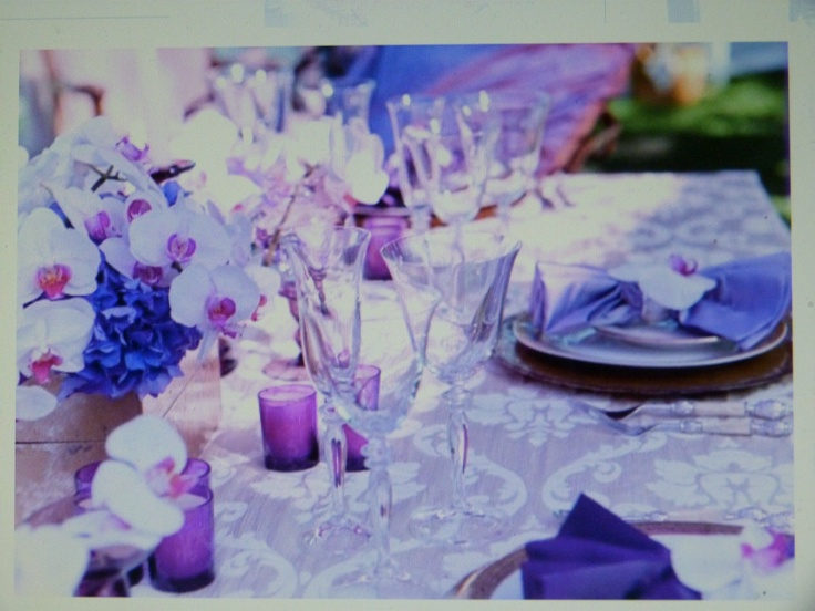 Royal Blue And Lilac Table Setting