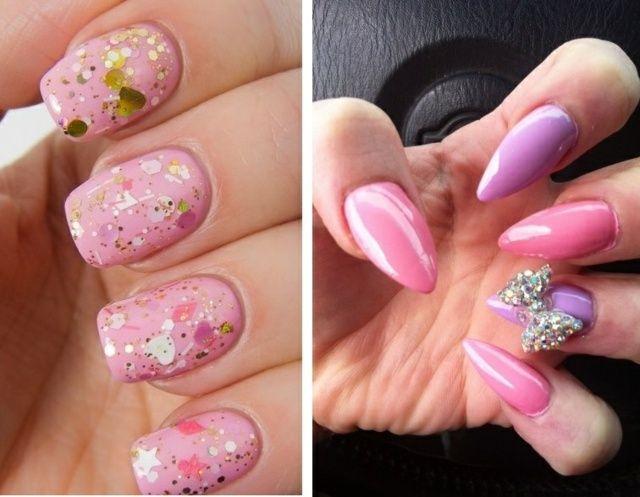 déco ongles base rose avec des paillette ongles stiletto