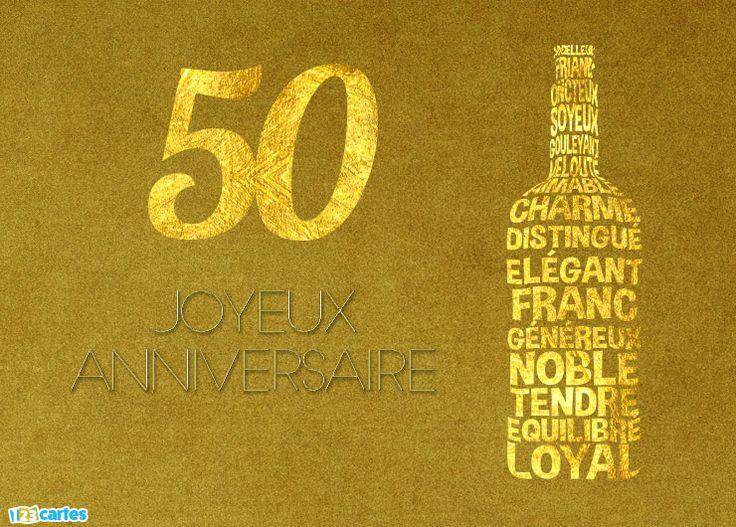 Carte anniversaire 50 ans comme un bon vin