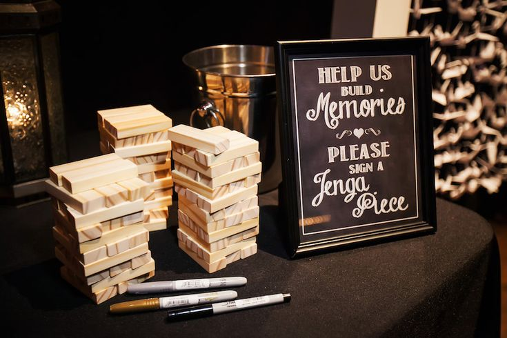 Jenga Guest Book Signing Table at Wedding Reception | Unique Guest Book Ideas