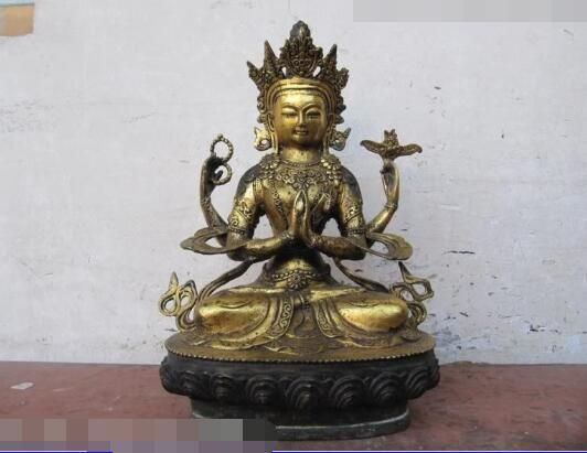 free shipping S5310 Tibet Buddhist Fane bronze Gild Four Armed Avalokitesvara Kwan-Yin Buddha Statue #Affiliate
