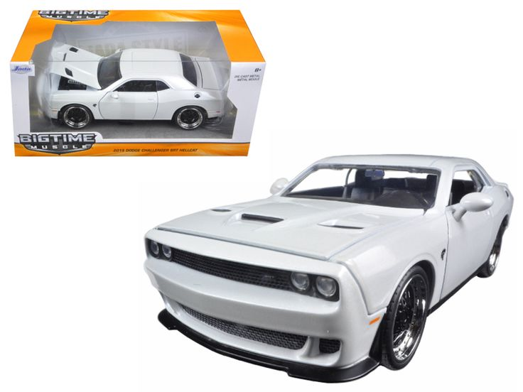 2015 Dodge Challenger SRT Hellcat White 1/24 Diecast Model Car by Jada - Brand new 1:24 scale diecast model car of 2015 Dodge Challenger SRT Hellcat White die cast car model by Jada. Rubber tires. Brand new box. Detailed interior, exterior. Has opening hood, doors and trunk. Made of diecast with some plastic parts. Dimensions approximately L-8, W-3.75, H-3.25 inches. Please note that manufacturer may change packing box at any time. Product will stay exactly the same.-Weight: 2. Height: 6…