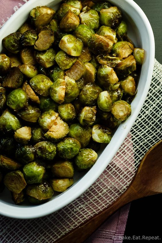 Maple Balsamic Roasted Brussels Sprouts - An easy side dish that is perfect for your Thanksgiving meal!
