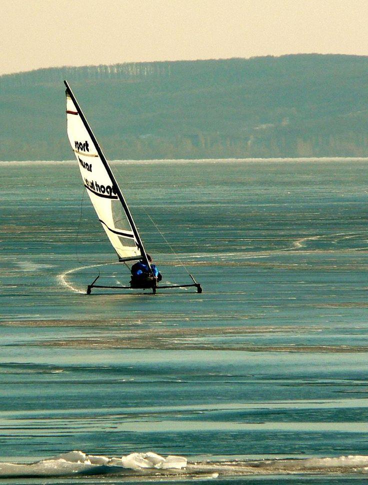 Ice sailing on Lake Balaton