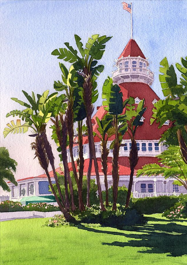Mary Helmreich   WATERCOLOR    Paradise At The Hotel Del Coronado Painting