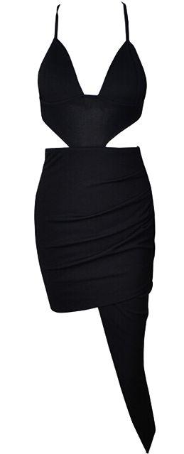 Sexy cutout dress with asymmetrical hem. Run true to size.