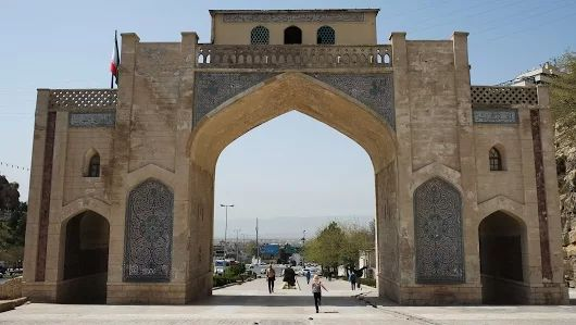 Qur'an Gate: The gate was founded by Adud Ad Dawla of Buyid empire (10th cent AD). Due to sustaining massive damage, the gate was heavily restored during Zand Dynasty in 18th cent AD. Shiraz, April 2017