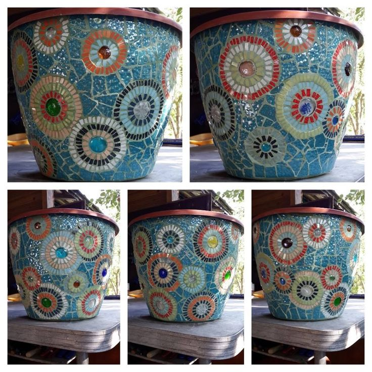 316 best mosaic pots images on pinterest mosaic bottles for Design patterns for pot painting