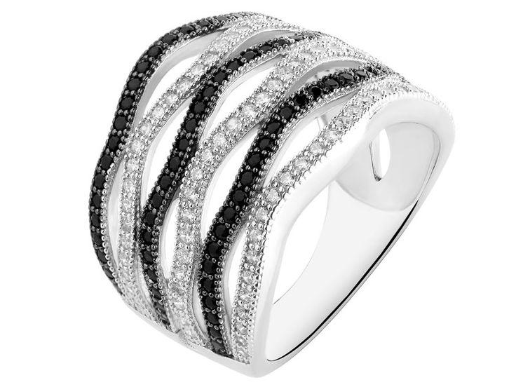 Pierścionek srebrny z cyrkoniami | Apart