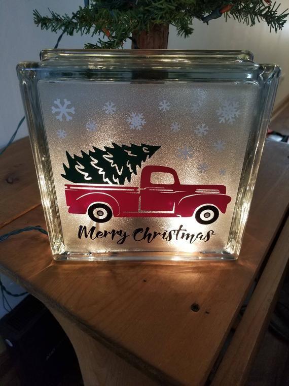 Christmas Tree Red Truck Vinyl Decal Set Glass Block Etsy