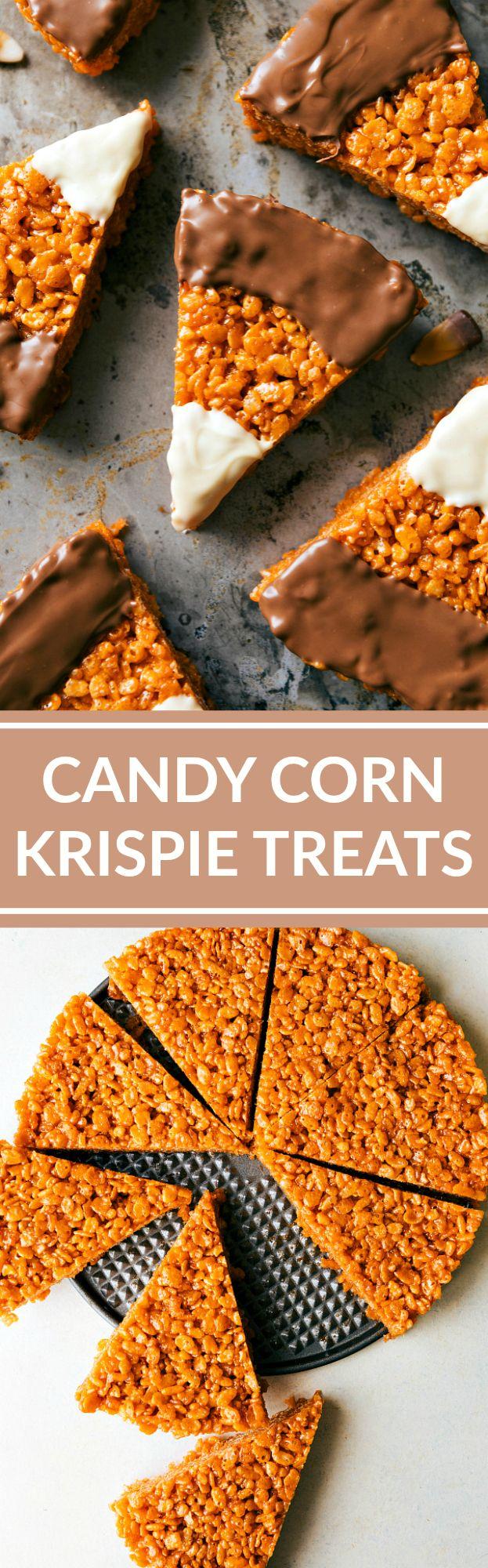 CANDY CORN KRISPIE TREATS! The absolute best peanut butter krispie treats…