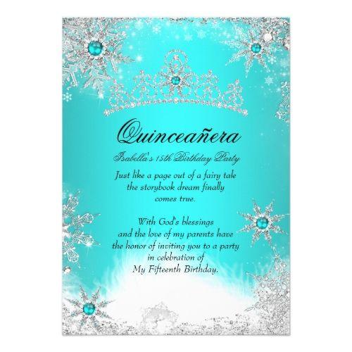 100 best quinceanera invitations images on pinterest quinceanera quinceanera invitations winter wonderland aqua blue quinceanera party card stopboris Images