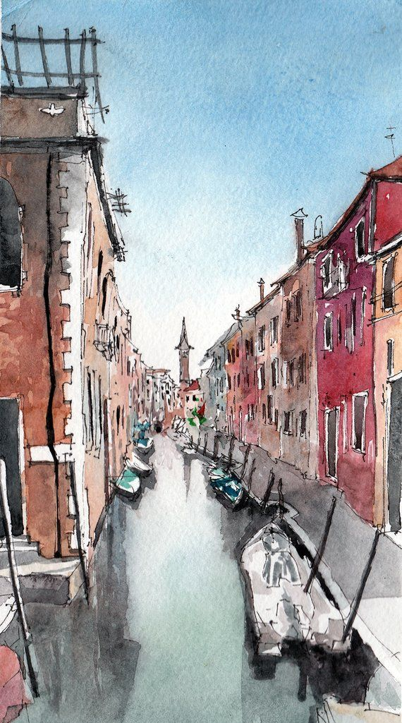 Watercolor Digital Print Venice Italy Architectural Sketch