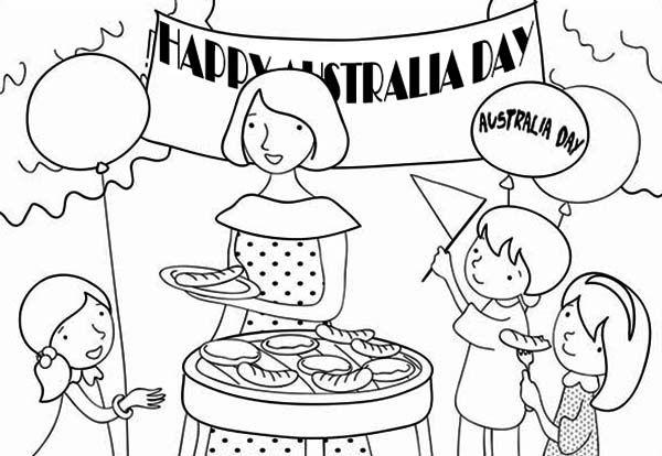 Australia Day A Family Celebrating Australia Day With Barbecue