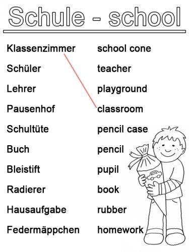 Englisch lernen: Arbeitsblatt Englisch lernen: Schule zum Ausmalen