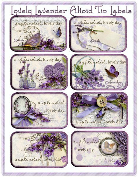 Lovely Lavender Altoid Tin Cottage Chic Set of 8 - This is a Seneca Pond Crafts exclusive design, and no commercial licensing is required, except you may not resell or share the Digital File or Template for others to print out.  You may, however, sell the Labels as tangible, physical products if you print and assemble them yourself. Enjoy!  - Labels InstantPrintables.com $3.00