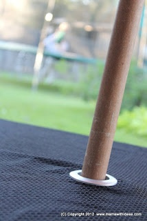 Use a curtain grommet to make a tablecloth for a picnic table with an umbrella hole!!!