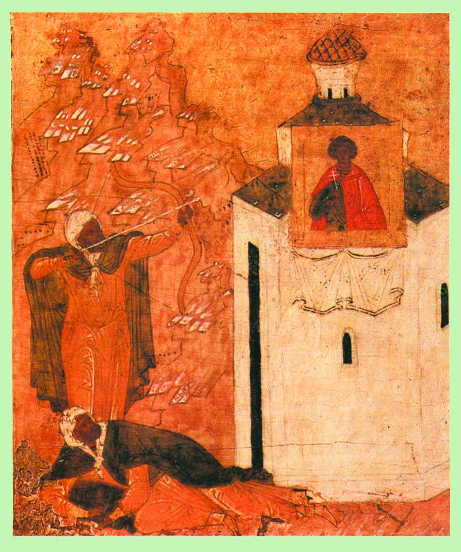 Начало XVI в. Нечестивец стреляет в Икону Георгия
