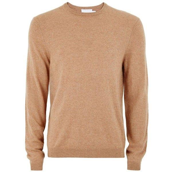 TOPMAN Camel Cashmere Jumper (150 BRL) ❤ liked on Polyvore featuring men's fashion, men's clothing, men's sweaters, brown, mens cashmere sweaters, mens slim fit cashmere sweaters, mens crewneck sweaters, mens slim fit sweaters and mens crew neck sweaters