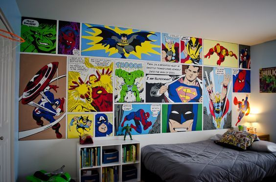 I would have to have only Marvel....take away all D.C. Decor: Heróis na decoração.