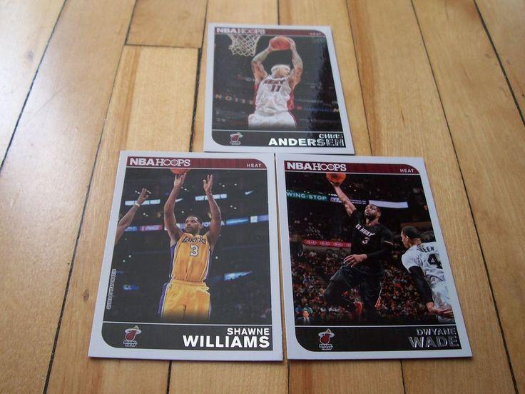 DWYANE WADE CHRIS ANDERSEN SHAWNE WILLIAMS 2014-15 Hoops Miami Heat (3) Card Lot