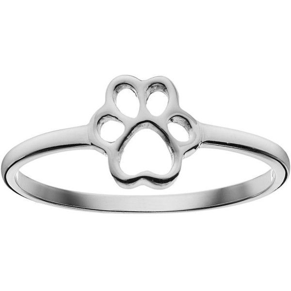 Sterling Silver Paw Print Ring (Grey) ($18) ❤ liked on Polyvore featuring jewelry, rings, grey, animal jewelry, gray ring, gray jewelry, grey ring and sterling silver animal jewelry
