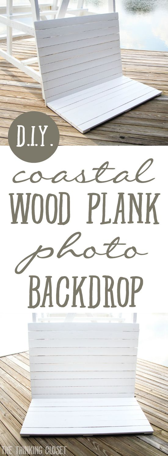 DIY Coastal Wood Plank Photo Backdrop |  Here's the full step by step run-down for how to make your own set of pallets for a professional-looking photo backdrop inspired by a beachy lifeguard stand!  Tutorial includes drawn-out plans, helpful photos, and of course, a curious kitty cat!