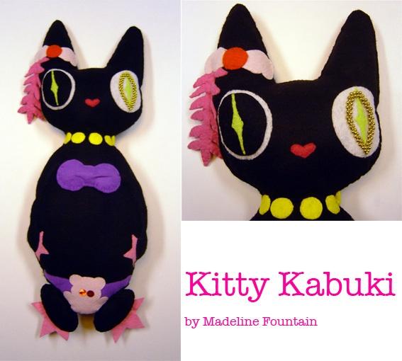 Kitty Kabuki. Felt sculpture.