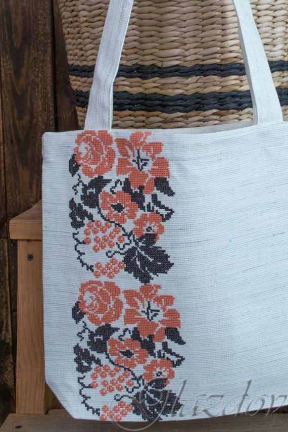 Linen bag with cross stich embroidery.