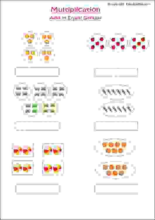 maths worksheets for grade 1 kids to practice multiplication using add in equal groups method. Black Bedroom Furniture Sets. Home Design Ideas