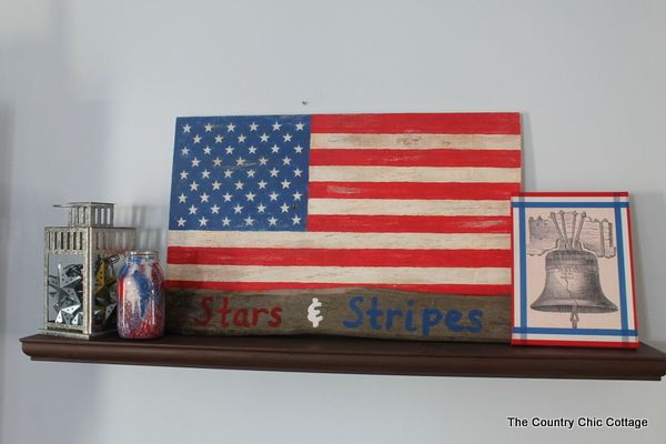 My summer mantle stars and stripes country chic Stars and stripes home decor